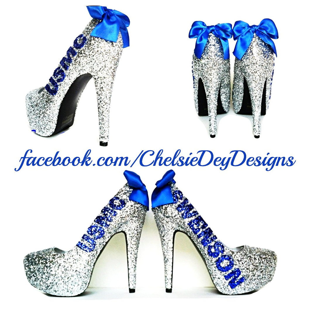 USMC Glitter High Heels, Marine Corps Silver Blue Sparkly Wedding Pumps