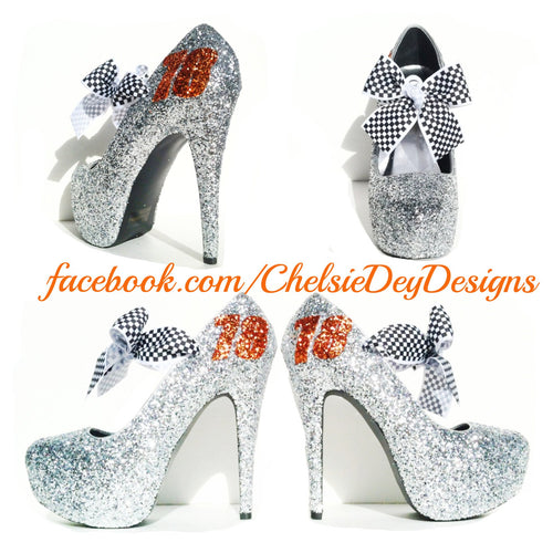 Racing Glitter High Heels, Grey Wedding Shoes, Sparkly Gray Prom Pumps
