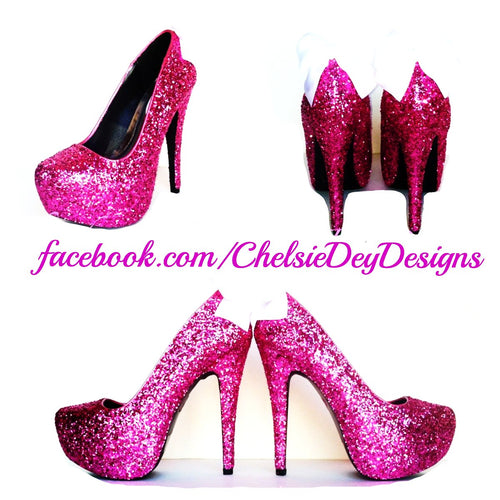 Hot Pink Glitter High Heels, Magenta Platform Prom Pumps
