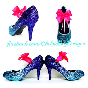 Purple Ombre Glitter High Heels, Aqua Black Wedding Shoes