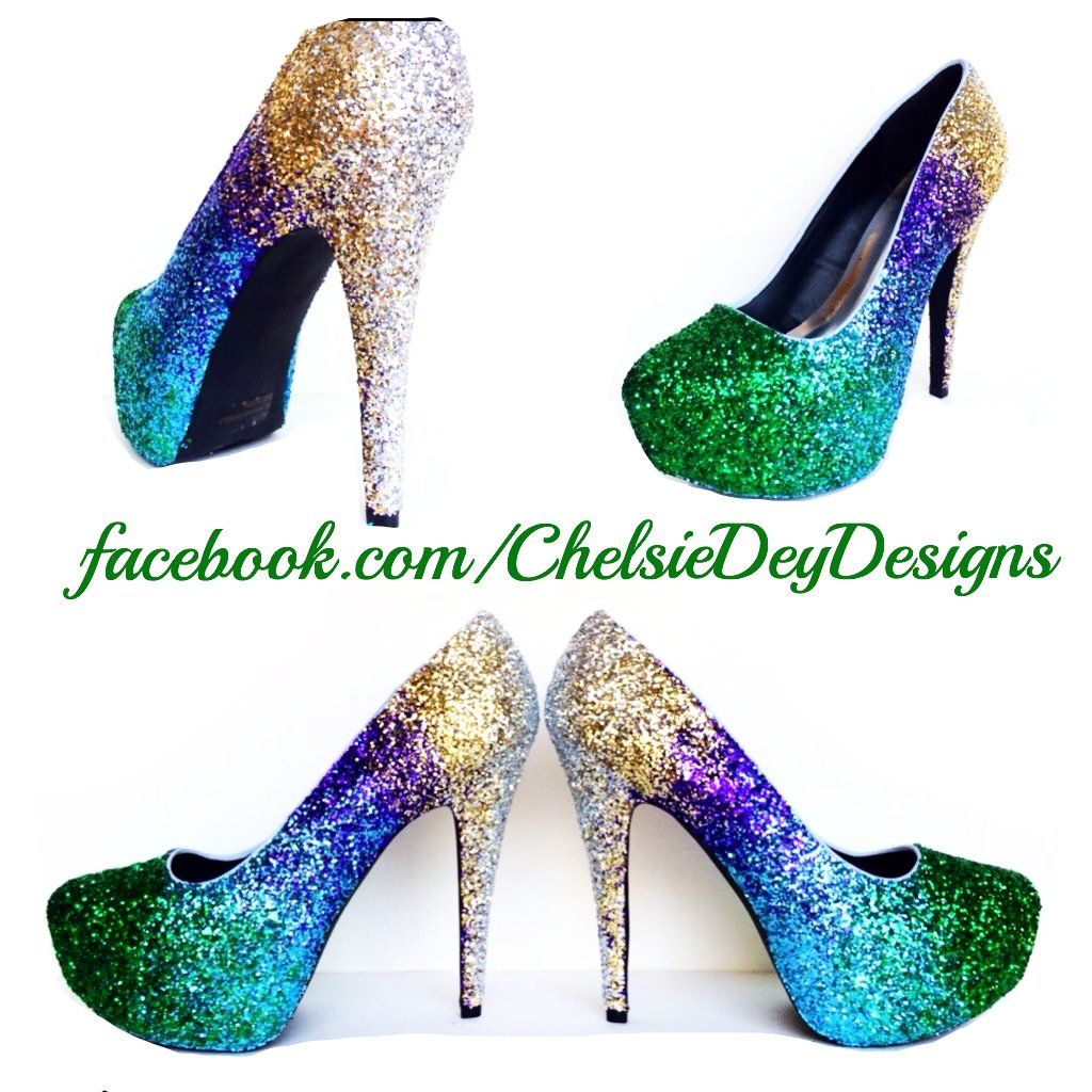 Peacock Feather Glitter High Heels, Ombre Blue Green Gold Platform Pumps
