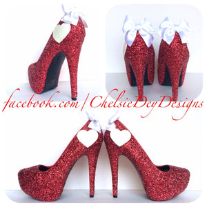 Red Glitter High Heels, White Heart Valentine Platform Pumps