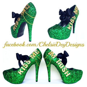 Irish Glitter High Heels, Kiss Me Im Irish Pumps, St. Patricks Day Shoes