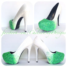 Seafoam Ombre Glitter White Base Mint Green Toe