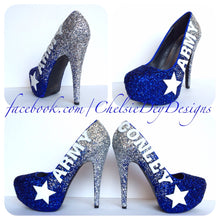 Army Glitter High Heels, Military Ball Blue Silver Ombre Platform Pumps
