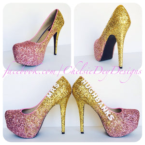 Ombre Glitter High Heels, Pink Gold Wedding Last Name Platform Pumps