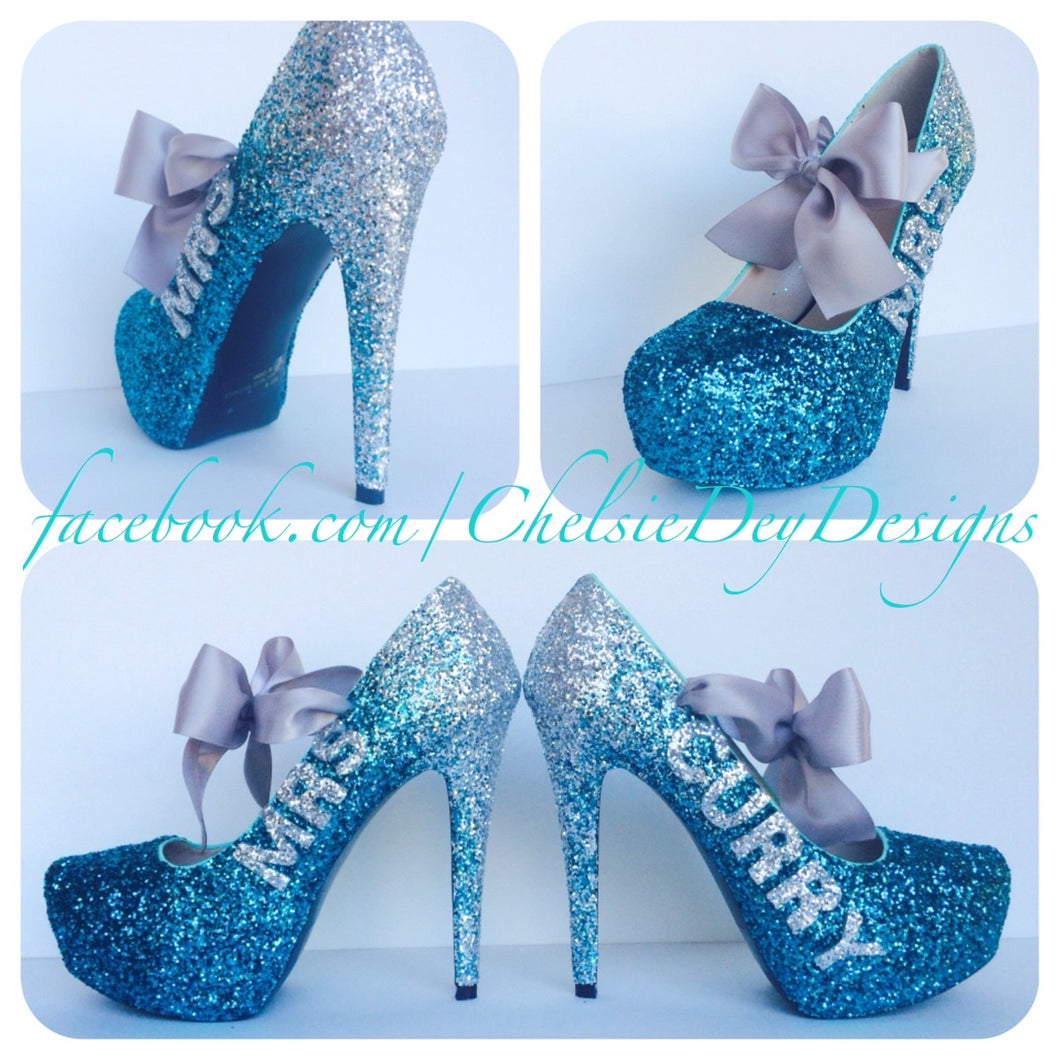Ombre Glitter High Heels, Silver Aqua Teal Wedding Last Name Platform Pumps