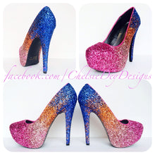 Pink Ombre Glitter Platform Pumps, Pink Orange Blue Sunset High Heels