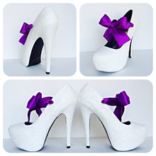 White Glitter High Heels, Wedding Shoes with Purple Bows