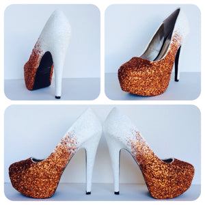 Orange Glitter High Heels, White Orange Ombre Prom Pumps