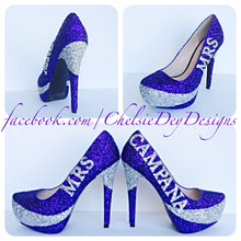 Glitter Wedding High Heels, Purple Silver Platform Pumps with New Last Name