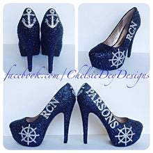 RCN Glitter High Heels, Military Ball Navy Blue Silver Platform Pumps