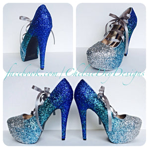 Blue Ombre Glitter Platform Pumps, Something Blue Wedding Shoes