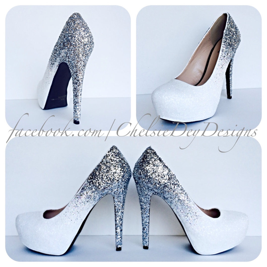 Ombre Glitter High Heels, Angel White Silver Wedding Shoes