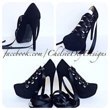 Black Corset Ribbon High Heels, Ballerina Laces Prom Pumps