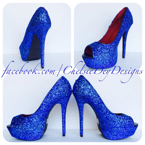 Blue Peep Toe Glitter Pumps, Something Blue Wedding High Heels