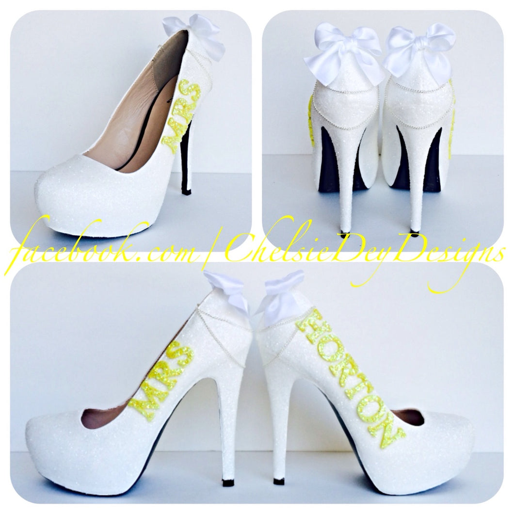 Glitter Wedding High Heels, White Yellow Pumps with New Last Name