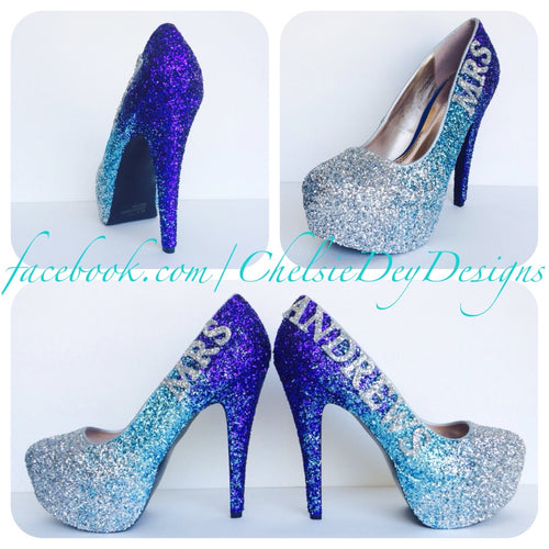 Glitter Wedding High Heels, Purple Silver Ombre Platform Pumps with New Last Name