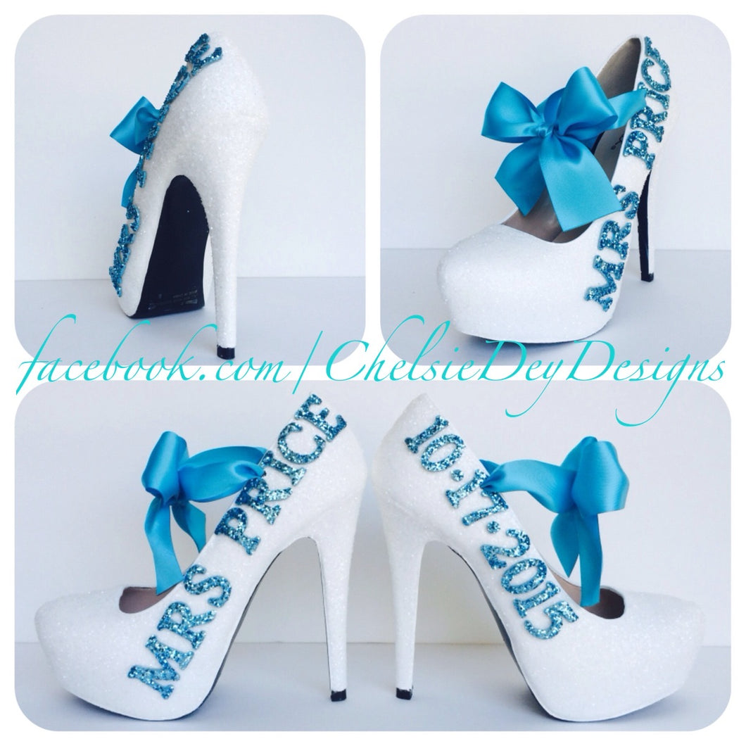 Glitter Wedding High Heels, White Aqua Pumps with New Last Name