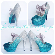 Aqua Teal Silver Glitter Pumps Grey Bow Ombre Design