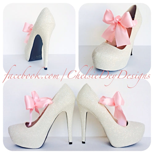 Glitter Wedding High Heels, Ivory Platform Pumps with Pink Bows