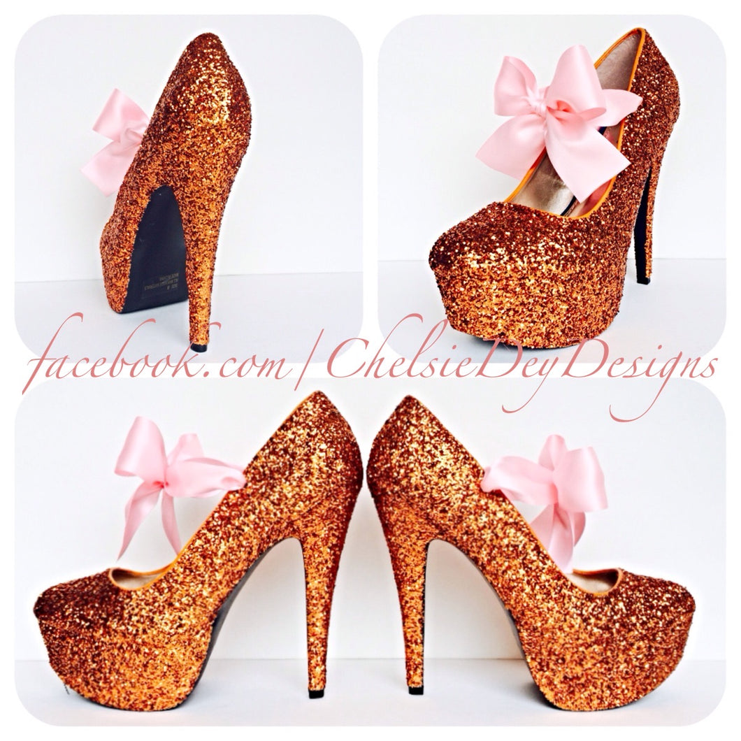 Orange Glitter High Heels, Orange Platform Prom Pumps