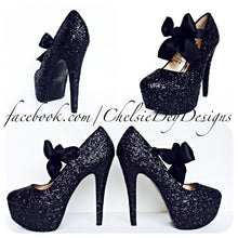 Glitter Platform Pumps, Black Prom High Heels