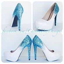Aqua Ombre Glitter High Heels, Something Blue White Wedding Shoes
