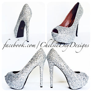 Silver Peep Toe Glitter Pumps, Open Toe Wedding High Heels