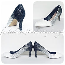 Ombre Glitter High Heels, Black White Silver Wedding Shoes