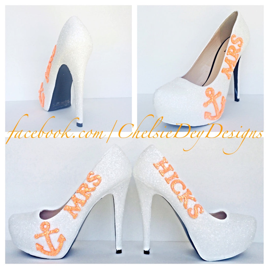 Glitter Wedding High Heels, White Orange Pumps with New Last Name