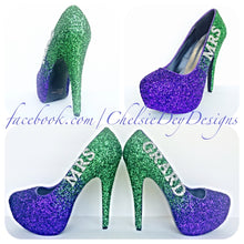 Glitter Wedding High Heels, Purple Green Ombre Platform Pumps with New Last Name