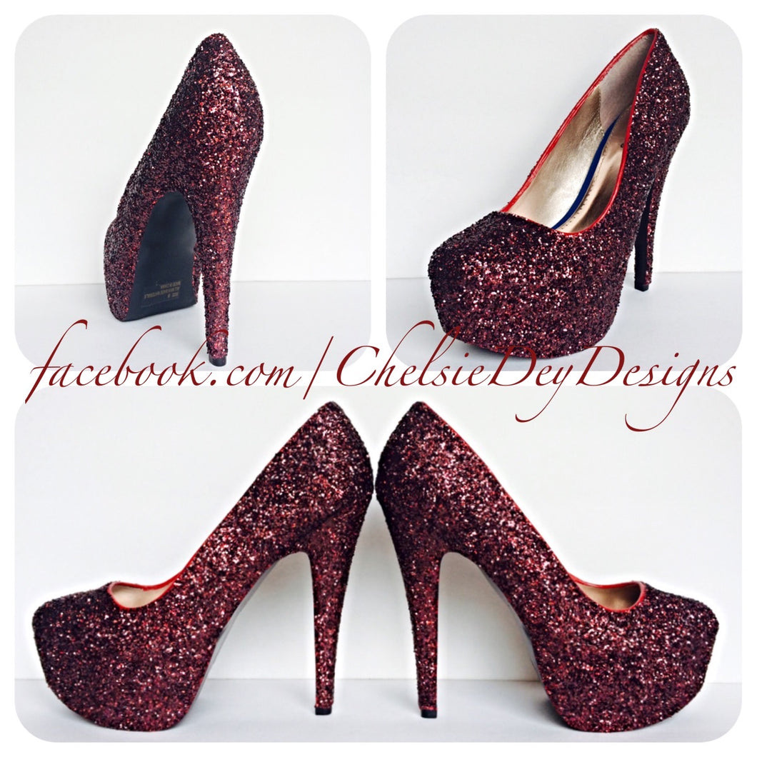 Dark Red Burgundy Glitter Pumps by Chelsie Dey Designs