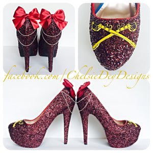 Burgundy Glitter High Heels, Red Sword Platform Prom Pumps