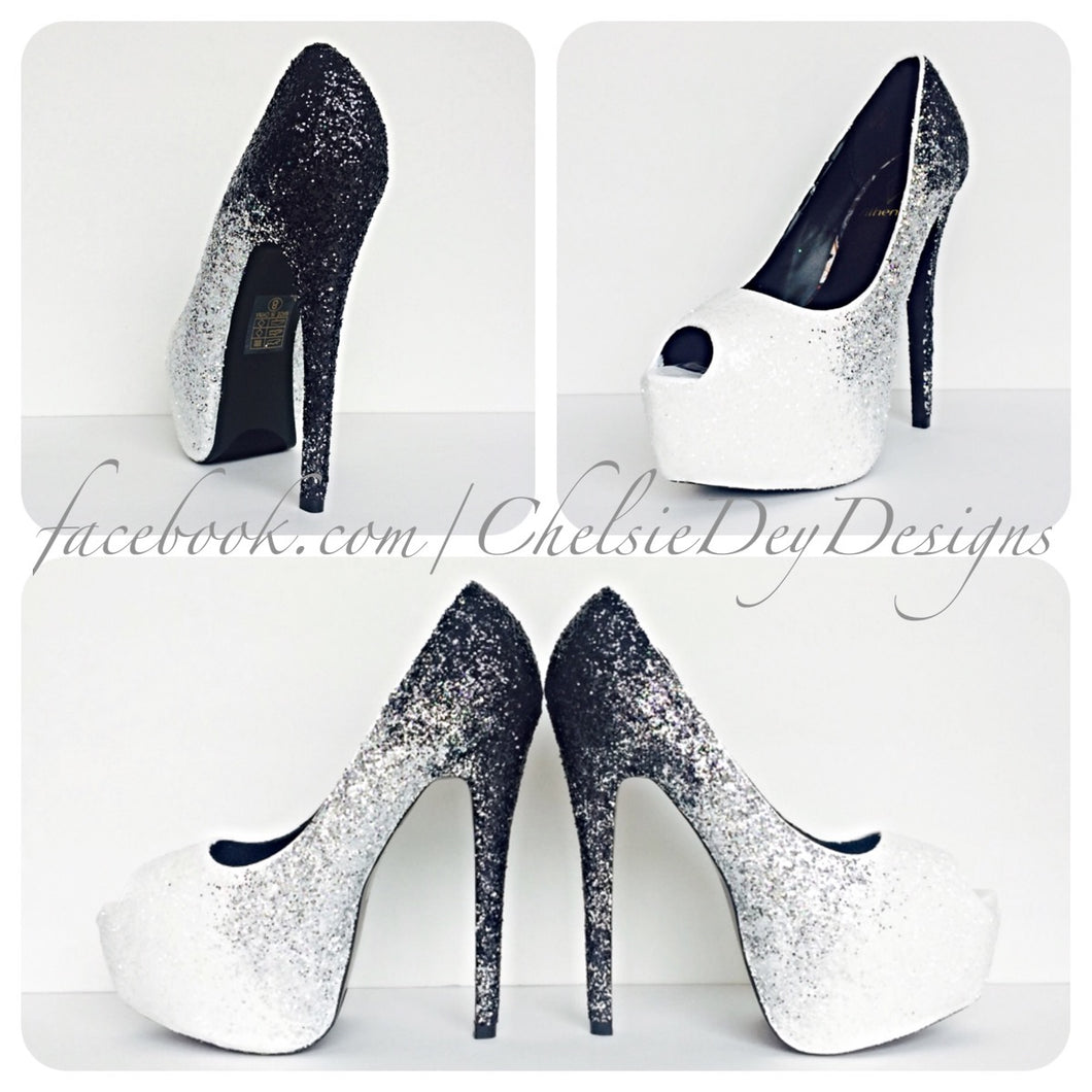 Glitter Peep Toe Pumps, White Black Ombre Wedding Open Toe High Heels