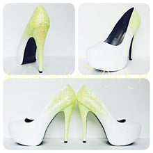 Ombre Glitter Wedding High Heels, White Yellow Pumps