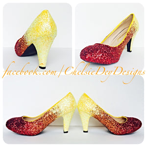 Ombre Glitter Wedding High Heels, Red Orange Yellow Pumps
