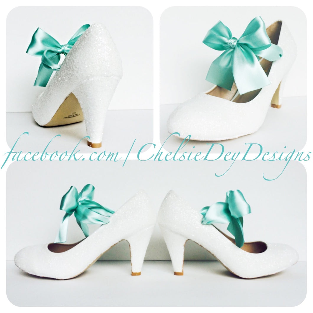 White Glitter High Heels, Wedding Shoes with Mint Bows