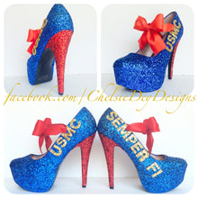 USMC Glitter High Heels, Marine Ball Blue Sparkly Pumps