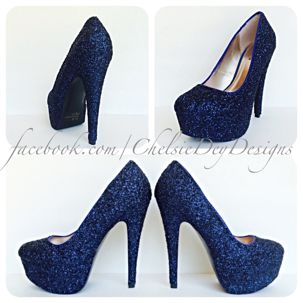 Navy Blue Glitter High Heels, Midnight Platform Prom Pumps