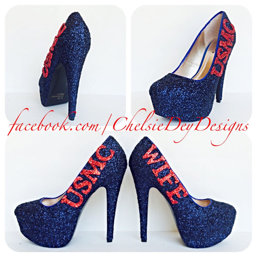USMC Blue Glitter High Heels, Marine Corps Wife Sparkly Wedding Pumps