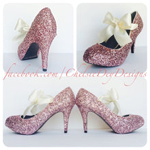 Pink Glitter High Heels, Pale Pink Low Wedding Pumps with Ivory Bows