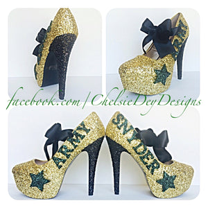 Army Glitter High Heels, Military Ball Gold Platform Pumps