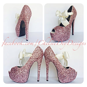 Pink Peep Toe Glitter Pumps, Pale Pink Open Toe Wedding High Heels