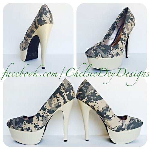 Camo High Heels, Military Ball Digital Camo Platform Pumps