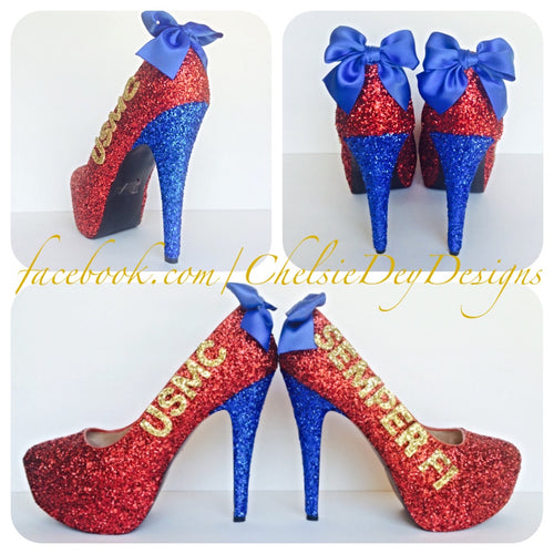 USMC Glitter High Heels, Marine Ball Red Sparkly Pumps