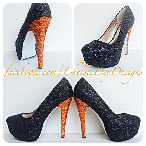 Black Glitter High Heels, Orange White Platform Prom Pumps