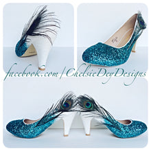 Peacock Feather Glitter High Heels, Teal White Ombre Platform Pumps