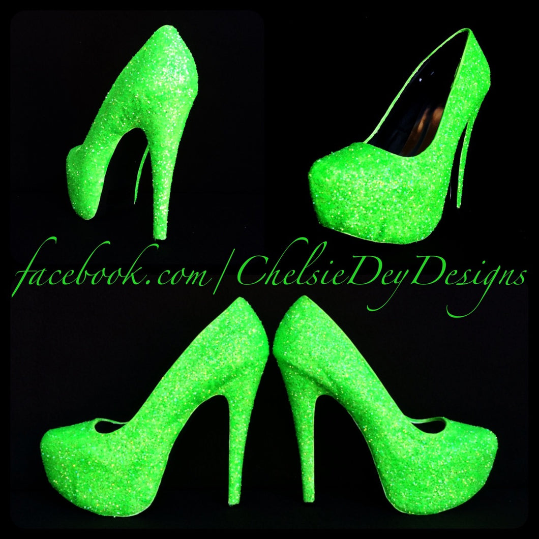 Sparkly Lime Neon Green High Heels 5 Inch Model by Chelsie Dey Designs