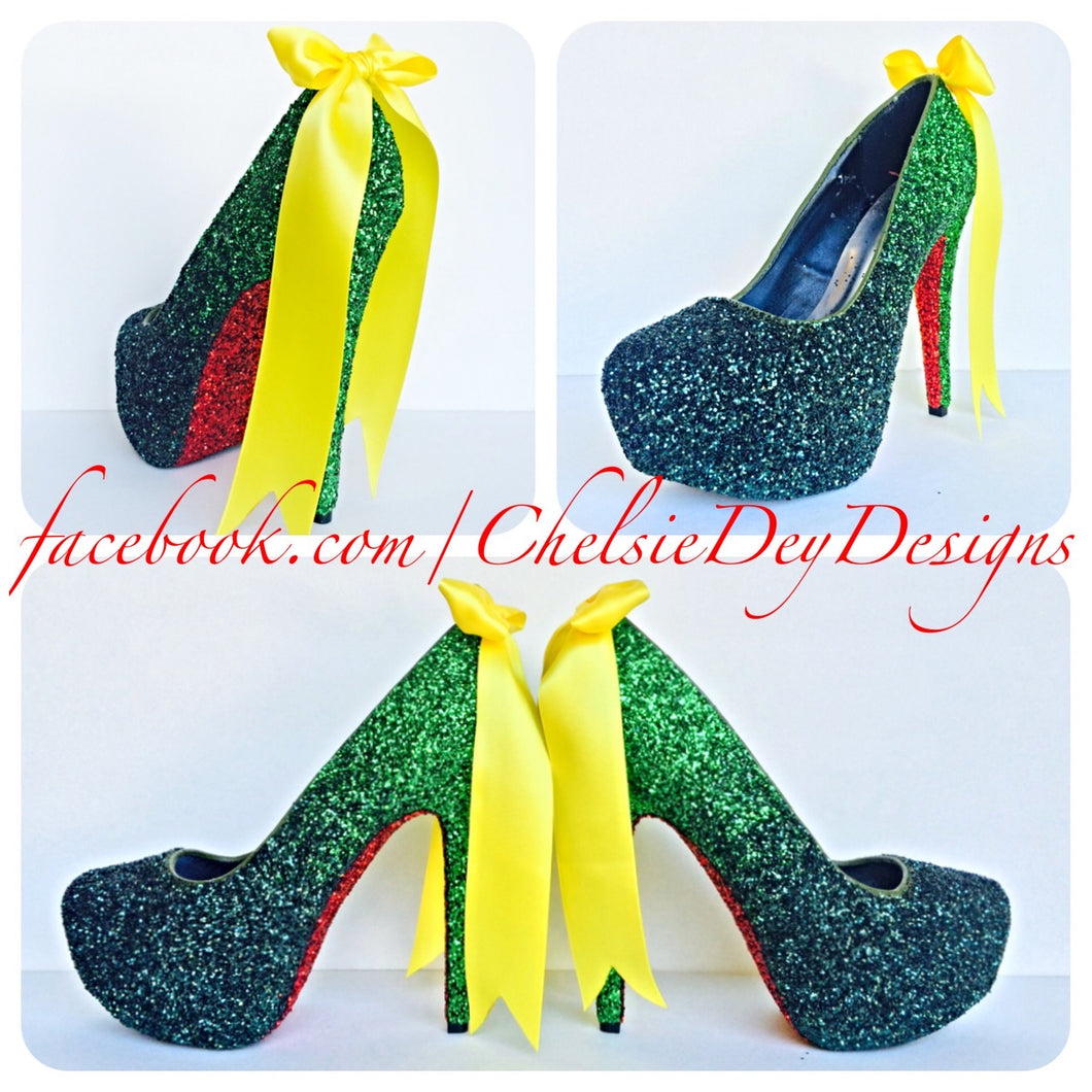 Ninja turtles Glitter High Heels, Green Ombre Platform Pumps
